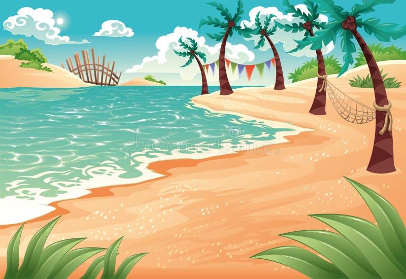 Spiaggia tropicale illustrazione vettoriale
