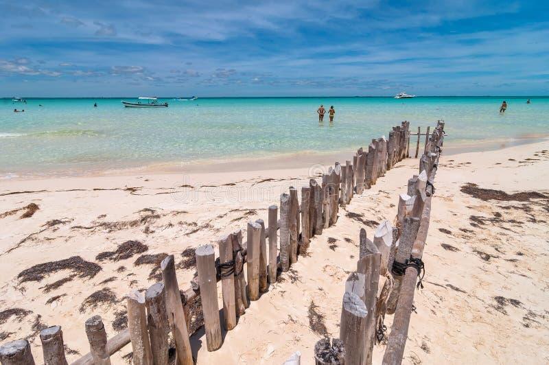 Spiaggia tropicale in Isla Mujeres, Messico fotografie stock