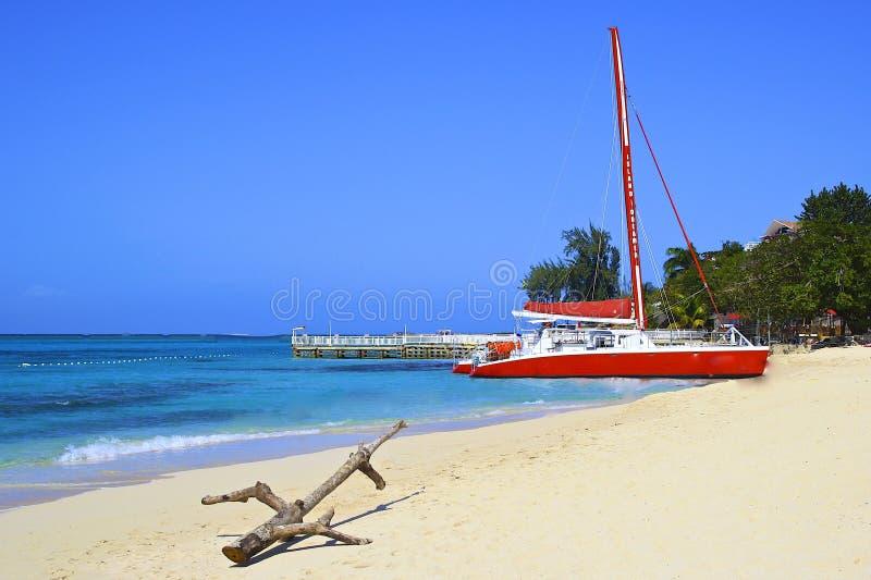 Spiaggia tropicale a Montego Bay, Giamaica fotografia stock libera da diritti