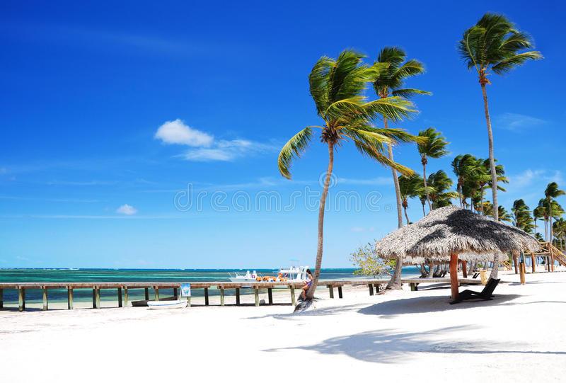 Spiaggia tropicale sabbiosa Bavaro, Punta Cana, Repubblica dominicana immagini stock