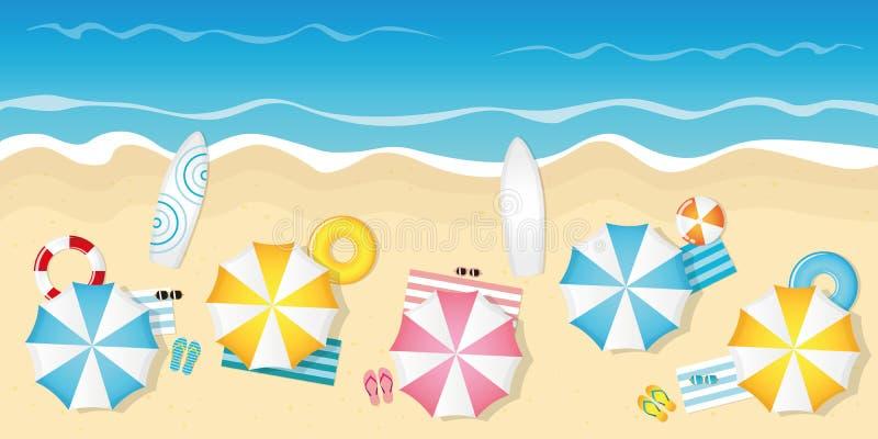 Spiaggia turistica con gli occhiali da sole ed i surf degli ombrelli illustrazione vettoriale