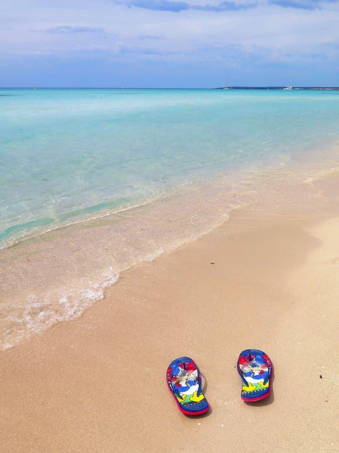 Spiaggia variopinta di paradiso di estate con chiare acqua blu e sabbia in Pescoluse, Puglia Italia fotografie stock libere da diritti