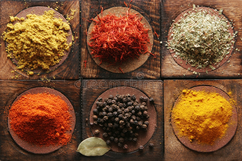 Spice. Different tipes of spice on wooden boards
