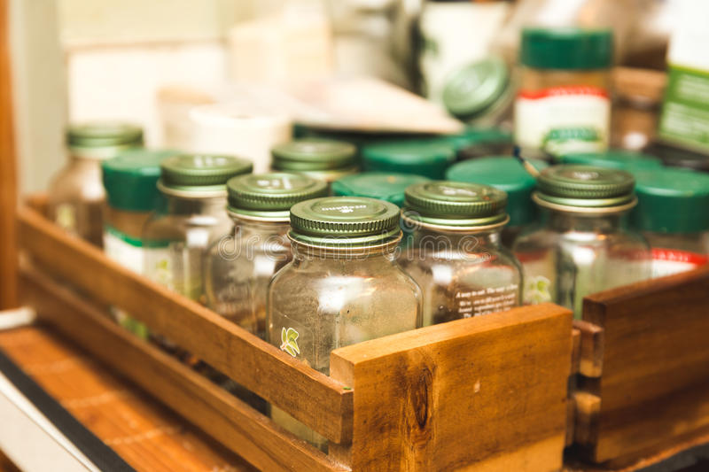 Spice Bottles in a Kitchen stock photos
