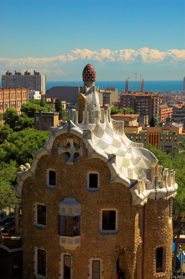 Spice-cake house in Park Guell by Antoni Gaudi royalty free stock photography