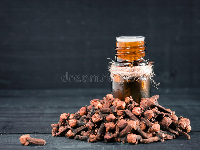 Spice clove essential oil royalty free stock images
