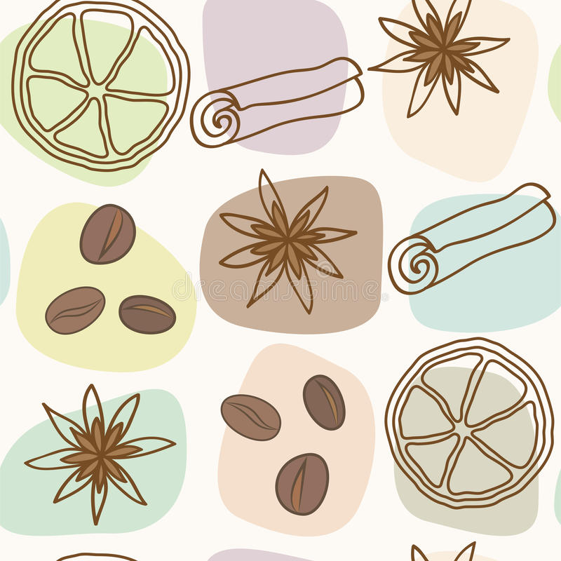 Spice And Coffee Seamless Pattern Royalty Free Stock Photography