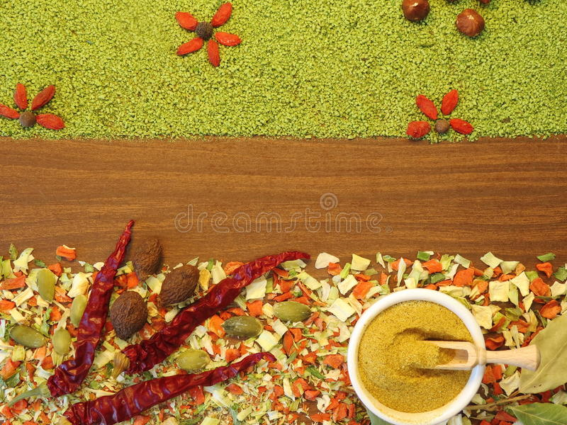 Spice and dried vegetables royalty free stock images