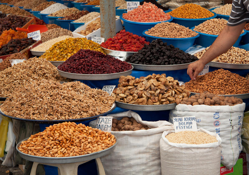 Download Spice Fruits Dried Nuts Almonds Figs Market Market Stock Photo - Image: 20391464
