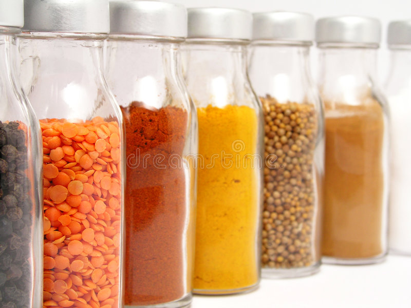Spice Jars. On white stock photo