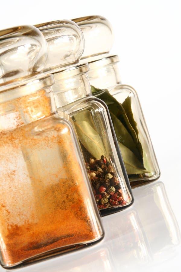 Spice Jars. On gray light background; bay-leaf, pepper (4 colours), cayenne stock image