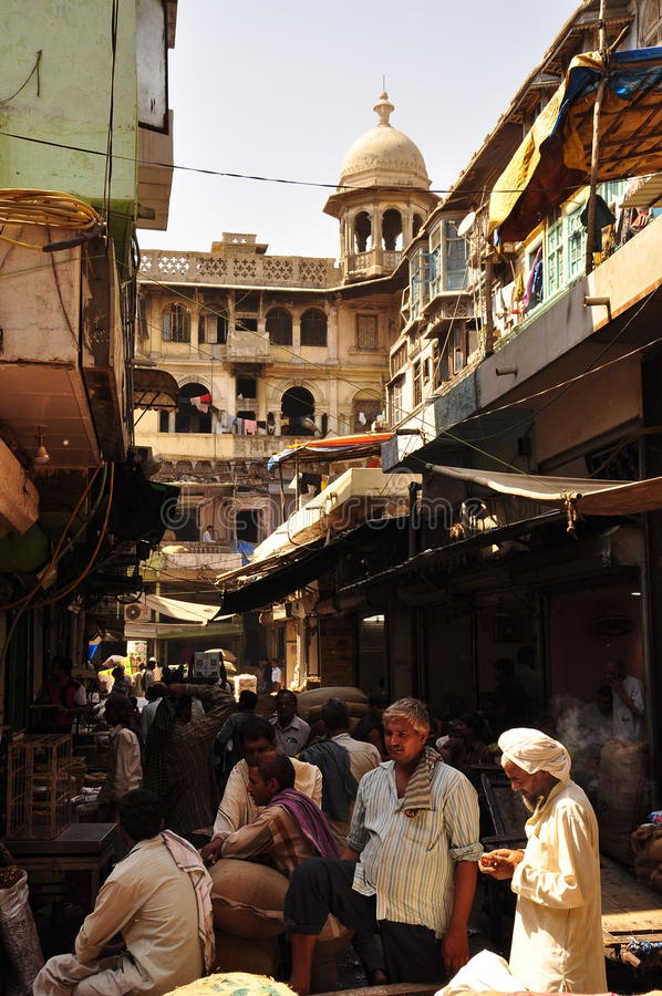 Spice market. Crowded mess in the old city of Delhi, India royalty free stock photo