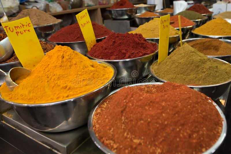 Spice Market. Different types of spice. Measuring spoon royalty free stock photo
