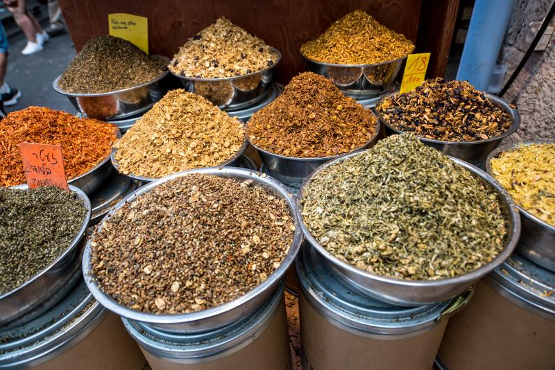 Spice Market. Different types of spice. Spice Market. Different types of natural colorful spices in a bowl stock photography