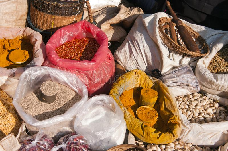 Spice market, Myanmar stock photography