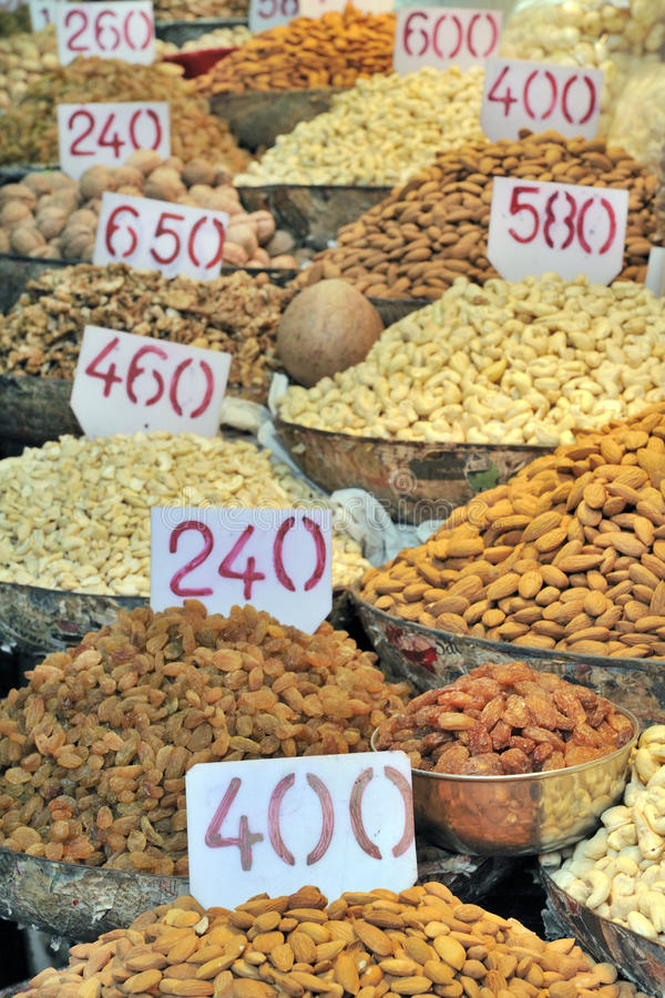 Spice market, Old Delhi, India. Nuts in the spice market, Old Delhi, India royalty free stock image
