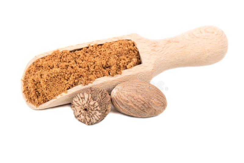 Nutmeg powder in scoop. Spice nutmeg powder in scoop on white background stock photos