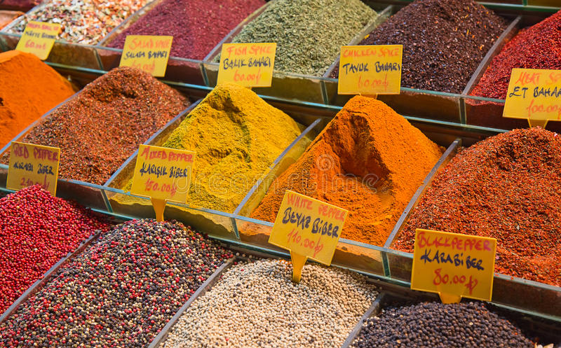 Spice souk in Dubai. Colorful spices on the traditional arabian souk (market) in Dubai stock image
