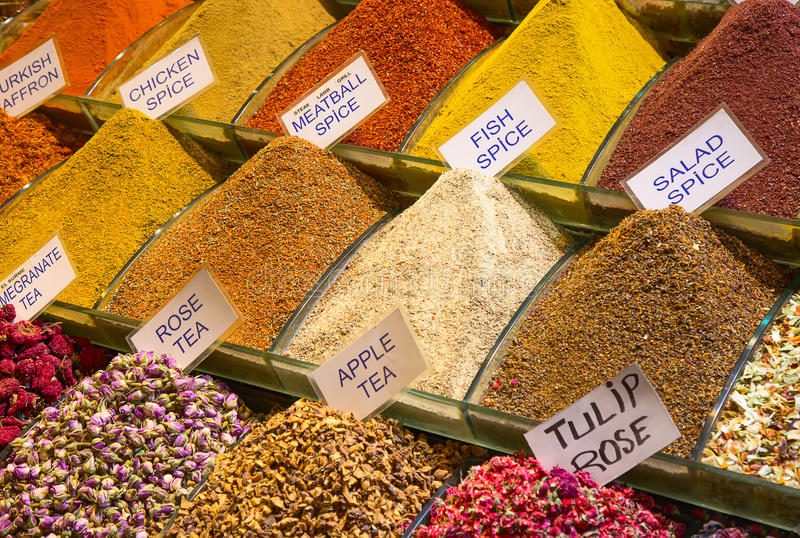 Spice souk in Dubai. Colorful spices on the traditional arabian souk (market) in Dubai royalty free stock photo