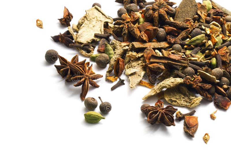 Set of spices isolated white background stock images