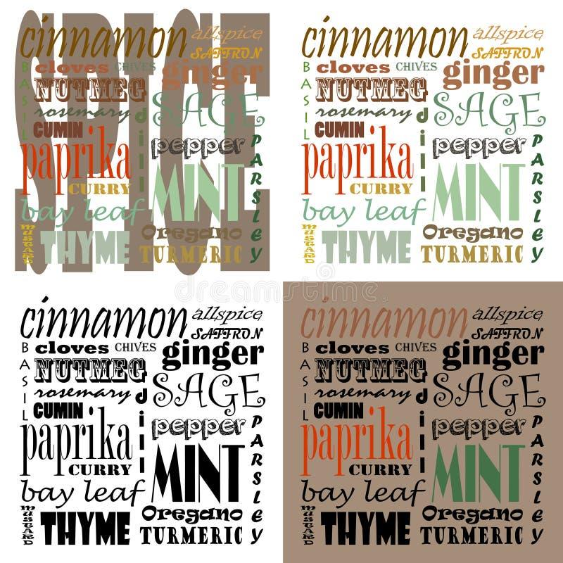 Spice Text Art - Set of 4 stock photos