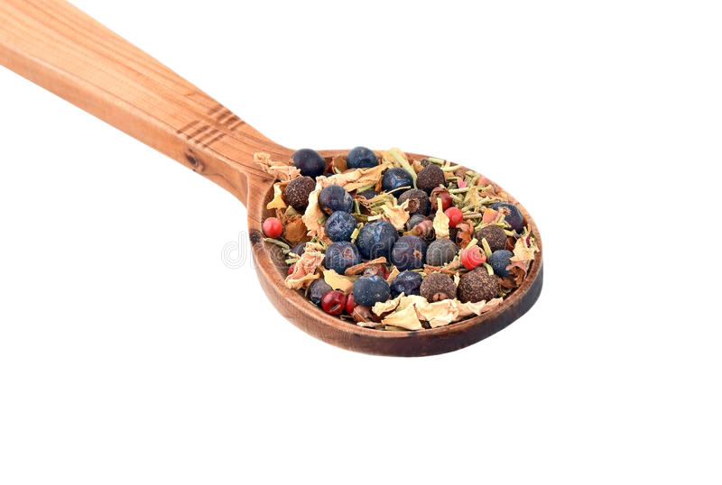 Spice in wooden spoon royalty free stock photos