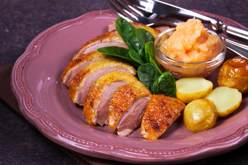 Spiced slow roast duck, apple sauce, spinach and potato, served on pink plate.  stock photos