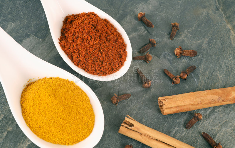 Spices. Oriental spices on a slate background. More in my portfolio royalty free stock photography