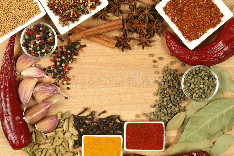 Spices. Herbs and vegetables. Colorful natural food ingredients royalty free stock image