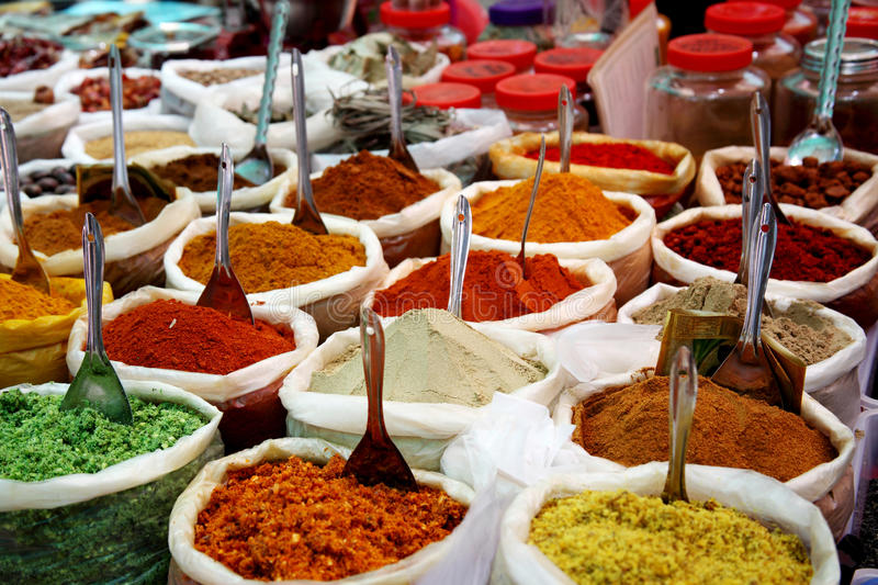 Spices at Anjuna flea market in Goa, India royalty free stock image