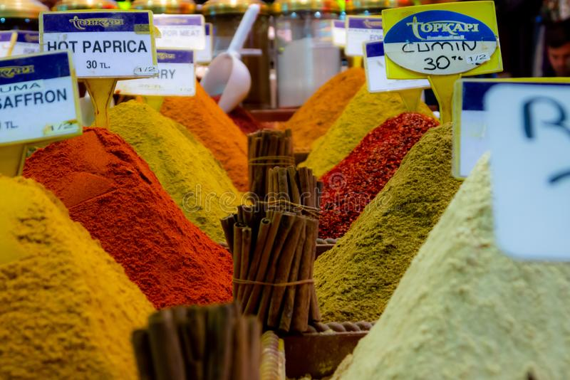 Spices. Arranged beautifully at grand Bazar in Istanbul royalty free stock images