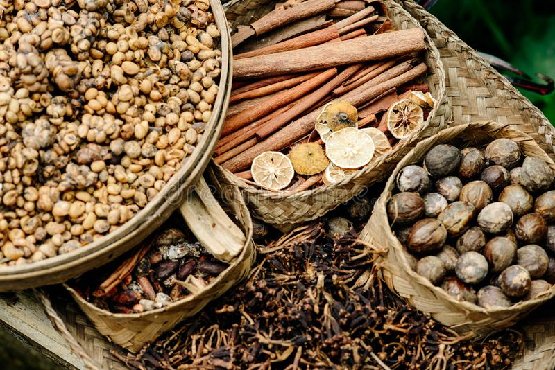 Spices of asia and coffee, cocoa and cinnamon coffee luvak in In royalty free stock photo