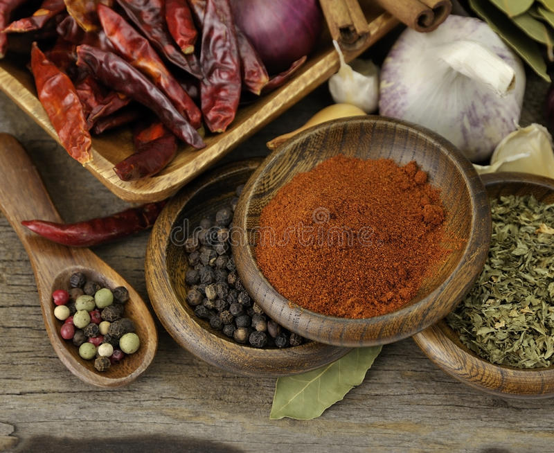 Spices Assortment. Assortment Of Spices On A Wooden Background stock photography
