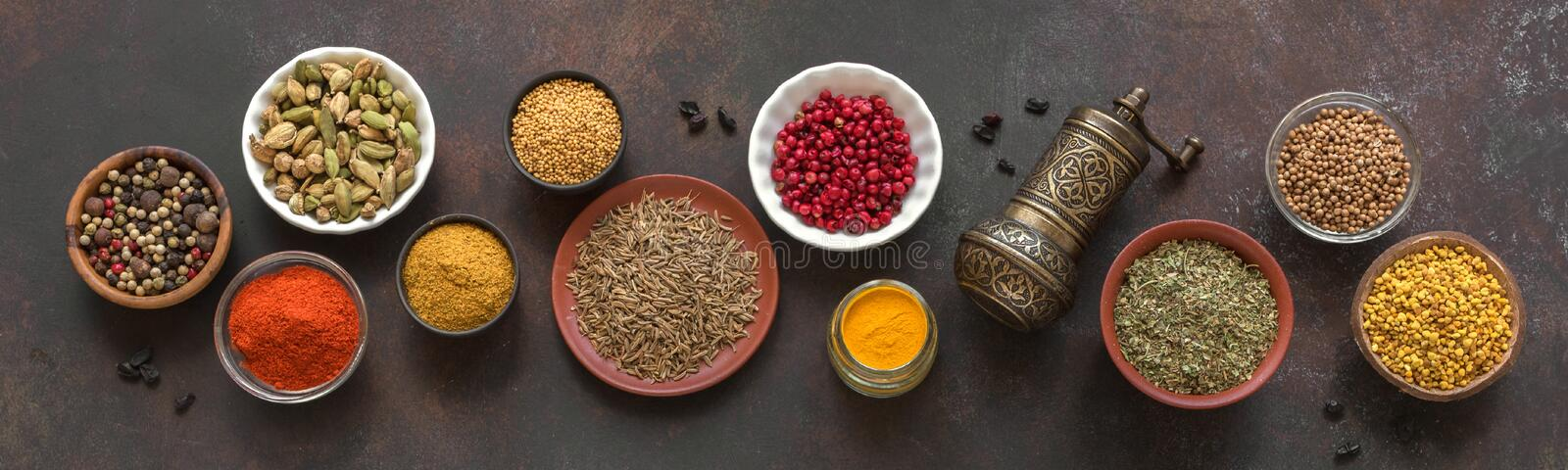 Spices Assortment. Various Spices on dark background. Assortment, set of spices and condiments with pepper mill, top view, banner. Cooking food concept royalty free stock images
