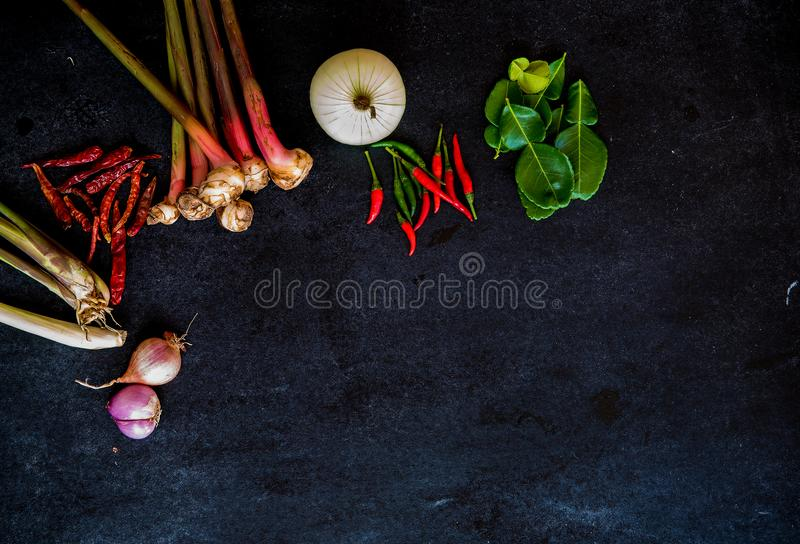 Spices on dark. Spices on black background,dark background with spices, Thai food royalty free stock images