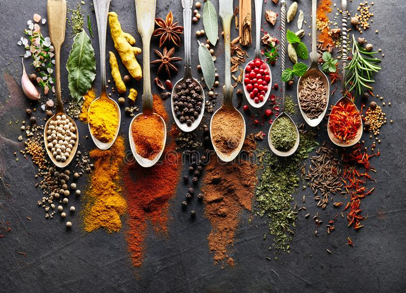 Spices on black board stock photography