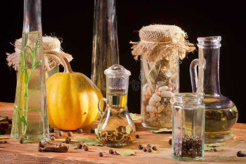 Spices and bottle of oil royalty free stock images