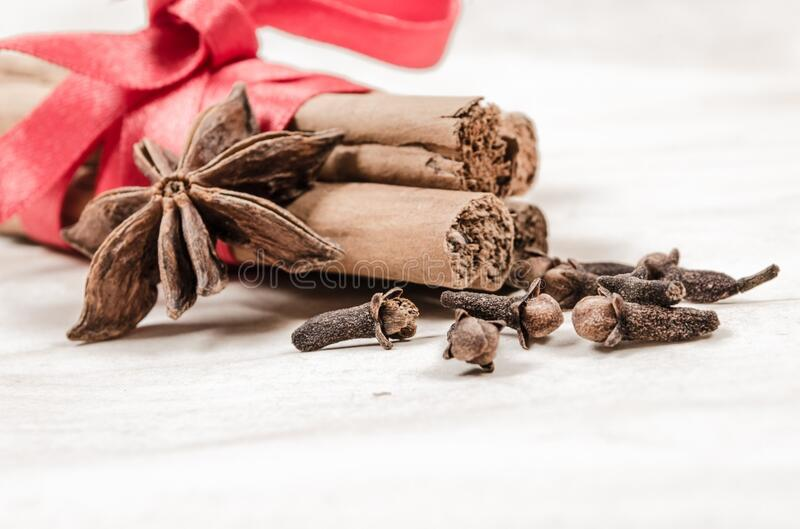 Spices with bow stock images