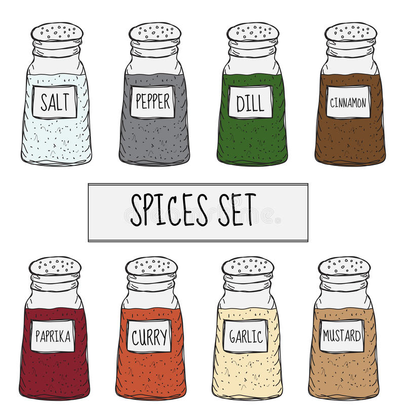 Spices in cans set sketch. Seasoning collection. Hand drawing, doodle style. Vector illustration.  stock illustration
