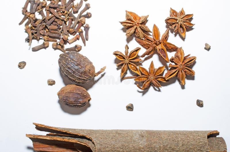 Spices. Cinnamon, cloves, nutmeg, anise isolated on the white background stock images