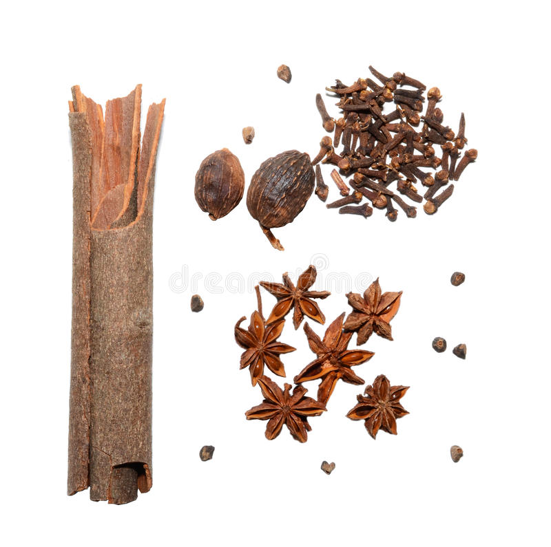 Spices. Cinnamon, cloves, nutmeg, anise isolated on the white background royalty free stock image
