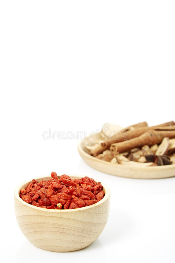 Spices. Cinnamon, star anise, cardamom, galangal, on a white background royalty free stock photos