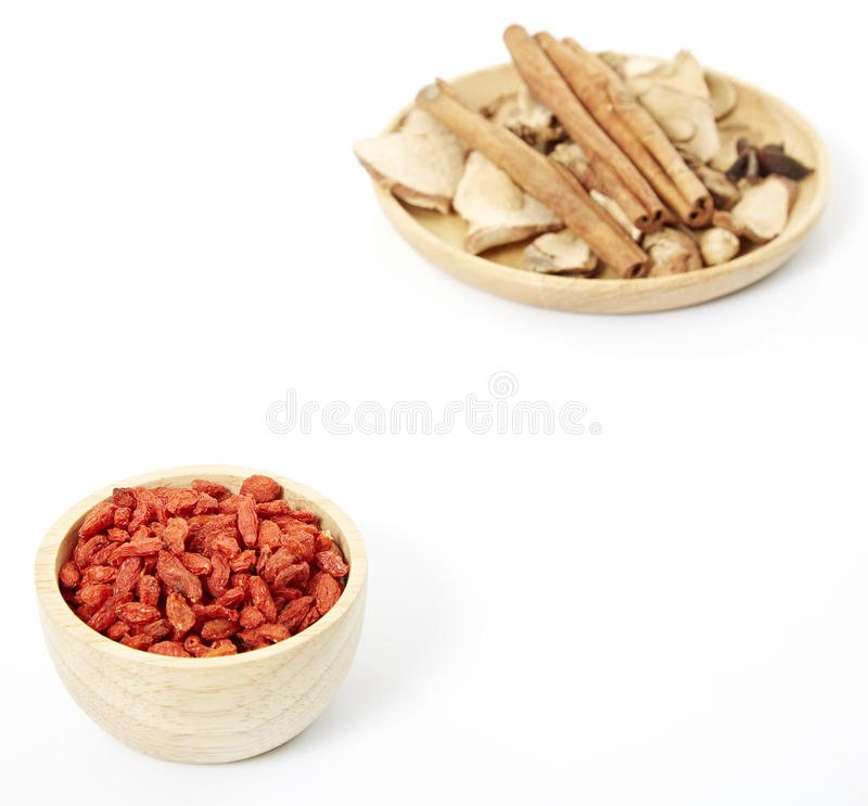 Spices. Cinnamon, star anise, cardamom, galangal, on a white background stock photo