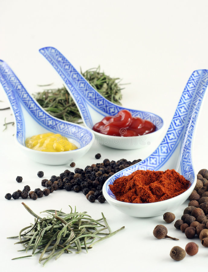 Spices and condiments stock images