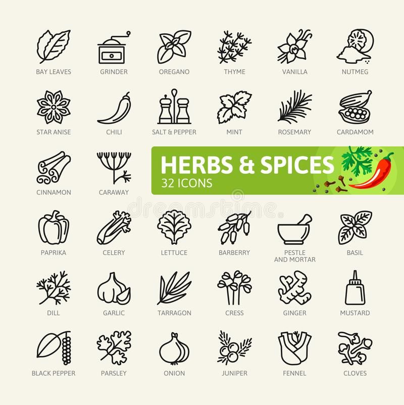 Spices, condiments and herbs - minimal thin line web icon set. Outline icons collection royalty free illustration