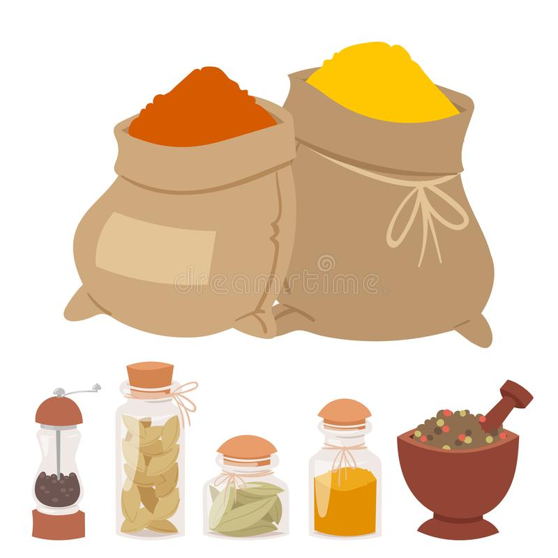 Seasoning food spicy herbs natural healthy spices condiments organic vegetable vector ingredient. Spices condiments and spicy herbs decorative elements and royalty free illustration