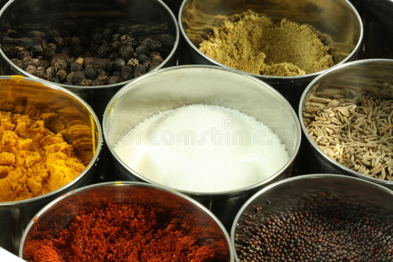Spices in Containers. Several spices in steel containers stock image