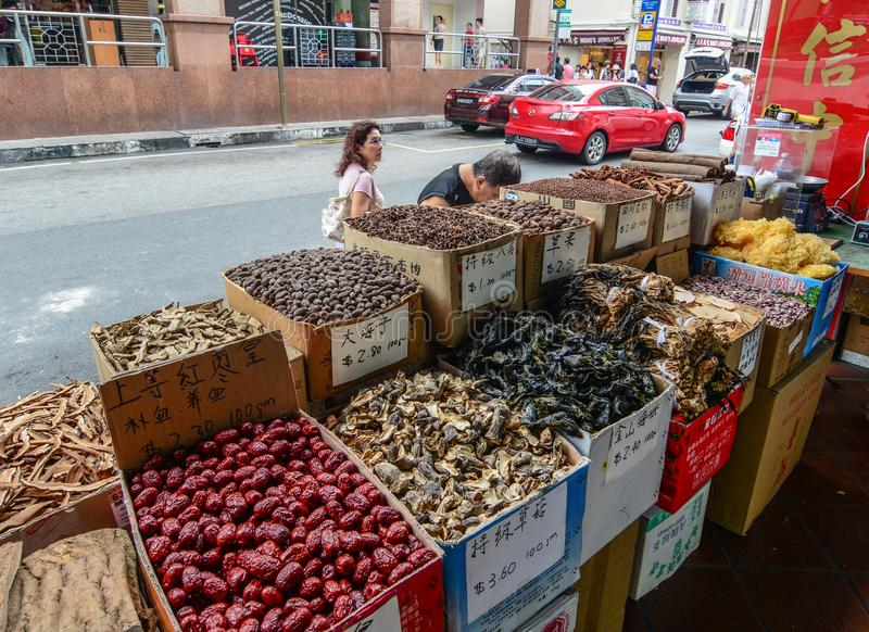 Spices and dried foods for sale at market. Singapore - Jul 4, 2015. Spices and dried foods for sale at Chinatown local market stock images
