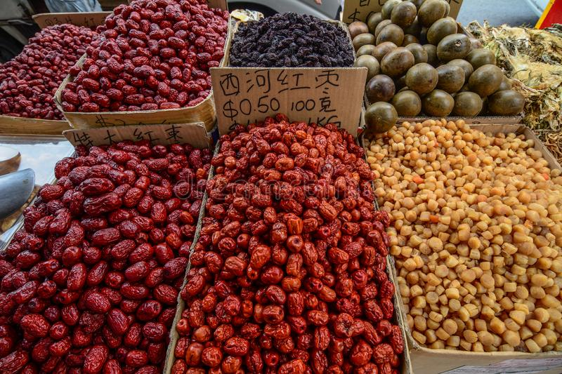 Spices and dried foods for sale at market. Singapore - Jul 4, 2015. Spices and dried foods for sale at Chinatown local market stock image