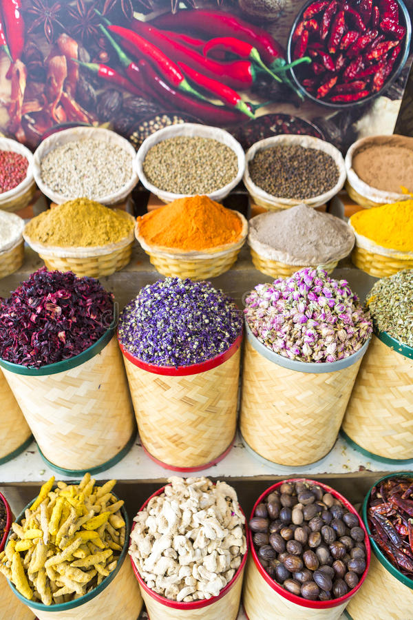 Spices and dried fruits at the market souk in Dubai. UAE stock image